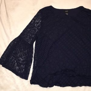 NWT {Alfani} Blue flare sleeve lace top blouse